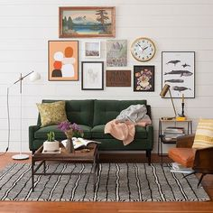 Beautiful fall color inspiration green #velvet sofa geometric area #rugs minimalist living room decor.