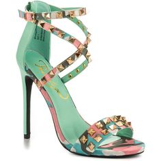 Privileged Women's Riot - Mint Pink (€72) ❤ liked on Polyvore featuring shoes, sandals, heels, sapatos, strap sandals, mint green sandals, strappy sandals, high heeled footwear and pink heel sandals