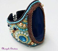 Agatha - bratara statement Bead Embroidered Bracelet, Beaded Embroidery, Lapis Lazuli, Agate, Gemstone Rings, Gemstones, Lei, Beads, Beadwork