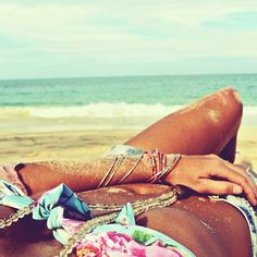 bikini, sun, and sand... yup that's about right!