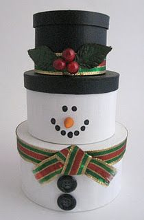 Stackable, painted gift boxes made into snowman.