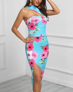 Style:Sexy Pattern Type:Floral Material:Polyester Neckline:One Shoulder Sleeve Style:Sleeveless Decoration:Slit Length:Midi Occasion:Cocktail , Party Package Dress Note: There might be difference according to manual measurement. Please check Red Bodycon Dress, Sexy, Dress First, Pattern Fashion, Sleeve Styles, Floral Prints, Motif Floral, Casual, Body Con Dress