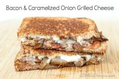 Bacon & Caramelized Onion Grilled Cheese Recipe ~ one of the best ways to use bacon! Simply delicious! | 5DollarDinners.com