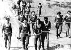 #Brazil team on a stroll; training for the #WC1974.