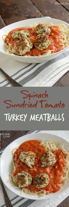 These healthy turkey meatballs are packed with flavor and so simple to make!! Sundried tomato and  spinach a great way to increase the veggies your kids will eat! Low fat, easy to make, high protein, and paleo!