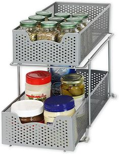Sliding basket for easy access in limited space. Two drawers. Great for kitchen, bathroom and storage room organization. Gain more space in the cabinet, pantry room or even open space. Bathroom Closet Organization, Storage Room Organization, Organization Ideas, Storage Ideas, Food Storage, Refrigerator Organization, Bathroom Hacks, Bathroom Stuff, Ikea Bathroom