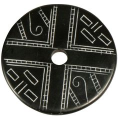 """Coal Pendant with Muisca Scroll #7  Crafted by Artisans in Colombia  Measures 1-3/4"""" diameter and 1/8"""" thick"""