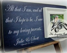 "Thank you so much for visiting The Sugared Plums Frames! Our picture frames are great for wedding gifts, anniversary gifts, mother of the bride gifts, father of the bride gifts, parent's thank you gifts, grandparents' gifts, birthday gifts, godparents' gifts, baptism gifts, bridesmaids' gifts, maid of honor gifts, sisters' gifts, adoption gifts, graduations and more!  This listing is for a 16""x16""overall plaque with a 5""x7"" mounted frame  Want to see more great examples? Visit The Sugared…"