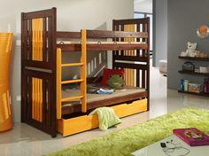 Pat etajat din lemn masiv Yoyo #kidsroom #homedecor #inspiration Beds For Sale, Double Beds, King Beds, 2 Colours, Mattress, Contemporary, Wood, Furniture, Cheap Beds