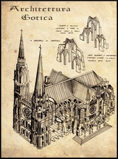 AMIENS Chalons Notre Dame Cathedral Architecture Print