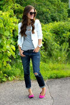 Stella and dot studs, flats (target), white blazer (forever 21), boyfriend jeans:)