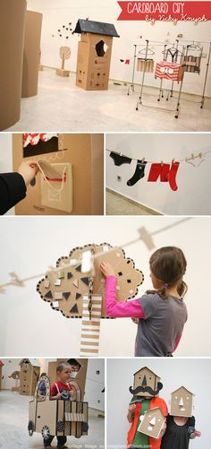 #DIY cardboard city. I can see a 3 year old waking up to this on their birthday and being the happiest kid in the world