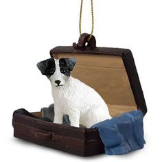 Jack Russell Black White Tag Along Carrycase Ornament
