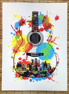 Minneapolis Guitar Screen Print Poster  3rd by dogfishmedia, $30.00