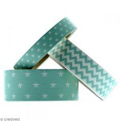 Masking tape Toga - Color factory - Géométrique vert bleu menthe - 3 rouleaux - Photo n°2