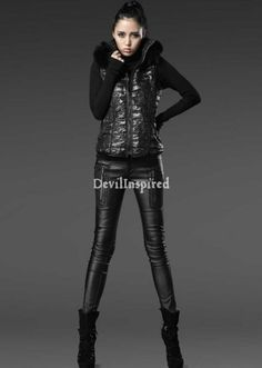 Black Leather Zipper Punk Pencil Pants for Women