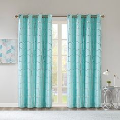 Intelligent Design Raina Total Blackout Metallic Print Grommet Top Curtain Panel - Olliix up your space with the enchanting style of Intelligent Design Raina Window Panel. The stunning panel flaunts a geometric, metallic silver pri Blackout Panels, Blackout Curtains, Drapes Curtains, Curtains Living, Turquoise Curtains, Colorful Curtains, Turquoise Room, Intelligent Design, Drapery Panels