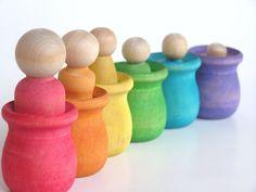 Waldorf Wood Toy Set -The Original Peek-a-Boo Rainbow Family-Educational Pretend Play Set. $23.00, via Etsy.