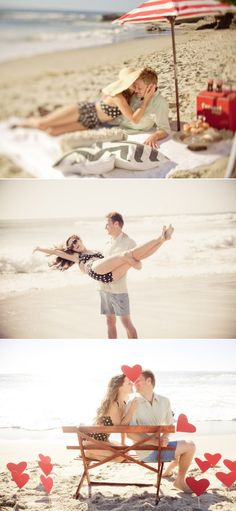 An adorable vintage e*session / save-the-date on Windansea Beach. Photography by http://siegelthurston.com. More of the fun on http://stylemepretty.com/california-weddings/2012/08/13/la-jolla-engagement-session-by-siegel-thurston-photography/