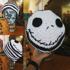 Jack Skellington beanie I made for my fiancé's birthday