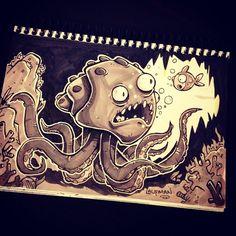 Inktober Day 15 by DerekLaufman on DeviantArt Prismacolor, Epic Drawings, Shark Art, Cartoon Sketches, Ink Art, Inktober, Game Art, Amazing Art, Art Reference
