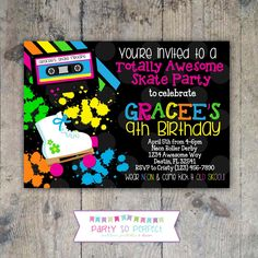Free Roller Skating Birthday Party Invitations
