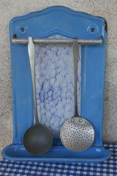 Vintage Blue Enamel Utensil Rack