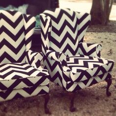 Wing back chairs with a chevron print? Priceless.