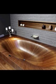 Sealed Wood tub, wow! Unique bathroom bath tub, natural wood