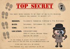 5 x 7 Agent Secret/Spy/détective anniversaire par AnnouncementsPlus