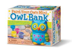 Little crafters paint their own super cute mini owl bank with this creative kit! [4M, STEAM, education toy, kids art project, craft activity, preschool, homeschool, elementary school, k12]