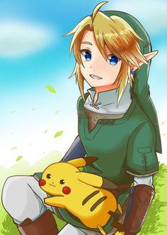 Link and Pikachu Party Characters, Nintendo Characters, Nintendo Games, My Pokemon, Pikachu, Link Fan Art, Super Smash Bros Videos, Zelda Anime, Mario