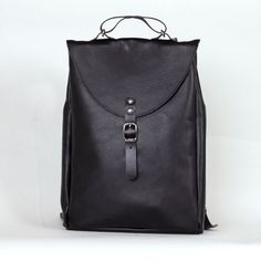 Black small leather backpack rucksack / To order by kokosina