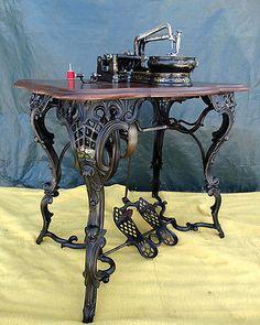 RARE Antique Civil War Era Fancy Leg Florence Treadle Sewing Machine 1864 | eBay