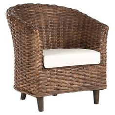 "Glazed wicker barrel chair with a cotton cushion.Product: Accent chair    Construction Material: Rattan, cotton and wicker     Color: Brown Features: Made in Indonesia Dimensions: 32.7"" H x 27.2"" W x 29.1"" D"