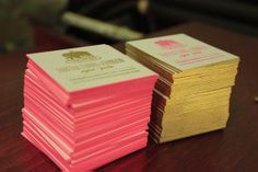 gold and pink-edged business cards by Ladyfingers Letterpress