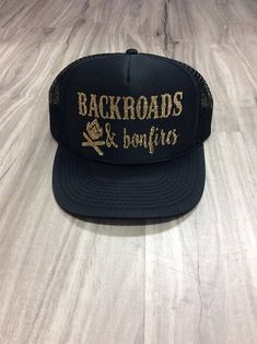 Backroads And Bonfires Trucker Hat Hat Mesh Camping Desert Riding Country  Women s Camping Hats Camping Trucker Hats Weekend Getaway Truckers f0f6ad096a51