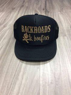 Backroads And Bonfires Trucker Hat Hat Mesh Camping Desert Camping Desert dbfc6e0bb1f5