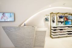 Reception, marble, lingerie and resortwear boutique, mykonos island, Levon.