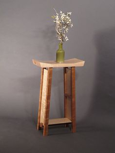 Small Side Table: Tiger Maple & Cherry Narrow End Table/ Entry Table