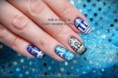 Gelish Foils and Stamping Winter nails by FUNKY FINGERS FACTORY