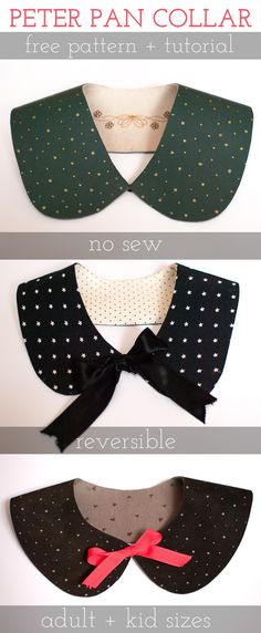 petit à petit and family: DIY Reversible Peter Pan Collar. 2 WAYSI received a email the other day asking me if I had a pattern for a peter pan collar I had done a couple years ago. One I had promised I would share on…YOU NEED for the reversible version Sewing Tutorials, Sewing Projects, Sewing Patterns, Diy Clothing, Sewing Clothes, Christmas Presents For Her, Diy Christmas, Costume Carnaval, Diy Kleidung