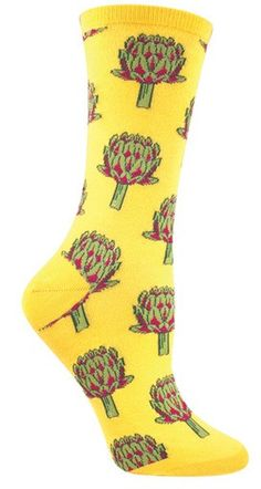 Steal my brand new cool pair of artichoke socks? I artichoke you. While we may understand you could be skeptical about this awesome pair coming in black, wine and chive; we can assure you the combina Silly Socks, Crazy Socks, Cute Socks, My Socks, High Socks, Food Socks, Sock Hop, Designer Socks, Fashion Socks