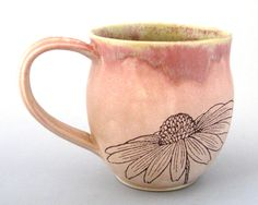Coffee Mug - Wild Flowers  -  16 oz  - Hand  Thrown Stoneware. $24.00, via Etsy.