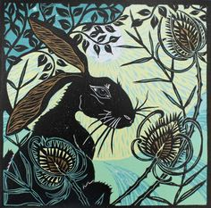 Hare in the Teasles   -   Kerry Tremlett -artist printmaker