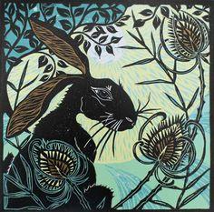 Hare in the Teasles  -  Kerry Tremlett -artist printmaker