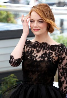 "Best Dressed: Emma Stone in Oscar de la Renta black lace + playful curly ruffle tulle cocktail dress at ""Irrational Man"" ‎photocall during Cannes Festival 2015. #Cannes #Cannes2015"