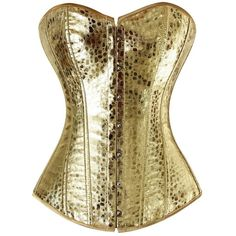 Shining Club Style Golden Overbust Corset with Snack-skin Pattern (39 AUD) ❤ liked on Polyvore featuring intimates, shapewear and corset