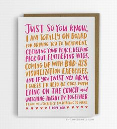 Empathy Cards for those with serious illnesses. Friendship through cancer empathy cards for serious illness Empathy Cards, Cancer Care Package, Chemo Care, Cancer Quotes, Cancer Humor, Just So You Know, Breast Cancer Support, Get Well Cards, Found Out