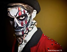 Skull make-up by Elvis Schmoulianoff for a Day of the Dead themed Skeleton Circus